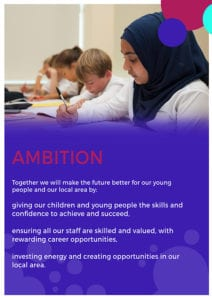 Together we will make the future better for our young people and our local area by: giving our children and young people the skills and confidence to achieve and succeed, ensuring all our staff are skilled and valued, with rewarding career opportunities, investing energy and creating opportunities in our local area.